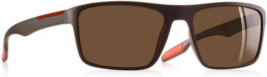 Lunettes de soleil LUGJ - Protection UV 100 % - Légères, résistantes et robustes - Polarisées - Pour homme - Style rétro Noir A Marron
