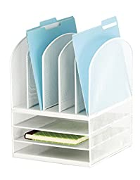 Safco Products 3266WH Onyx Mesh Desktop Organizer with 5 Vertical/3 Horizontal Sections, White