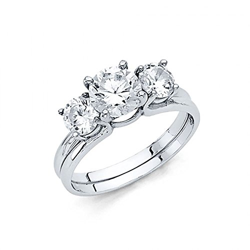 14k White Gold 3 Stone CZ Trellis Engagement Wedding Ring Set