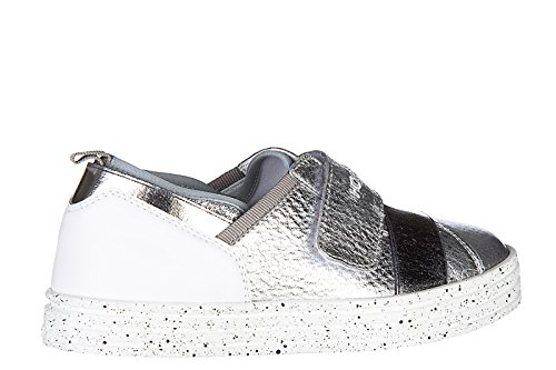 Hogan Rebel scarpe sneakers bimbo bambino nuove r141 strap argento