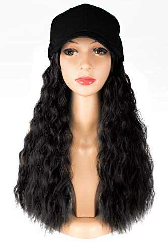 TOFAFA Black Wavy Wig with Hat,Adjustable Black Baseball Cap Fits Women Easy to Use,Synthetic Hair #1B