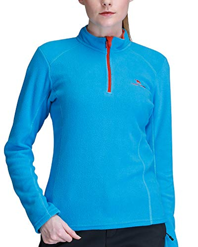 CAMEL CROWN Fleece Jacket Women Soft Warm Tops 1/4 Zip Lightweight Long Sleeves Sweaters Pullover Sweatshirt Coat Blue L