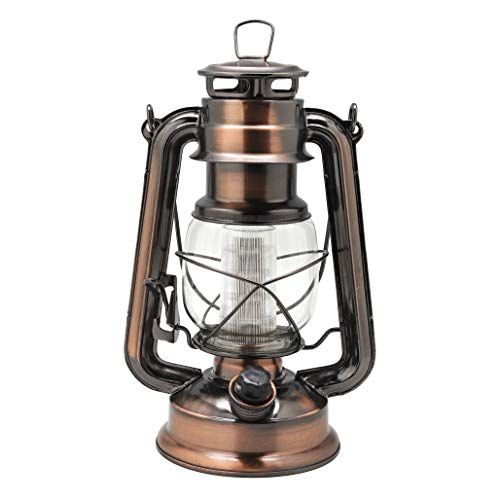 YAKii Vintage Style 12-LED Metal Oil Lamp,Hurricane Lantern(Antique Copper) (Bronze Hurricane)