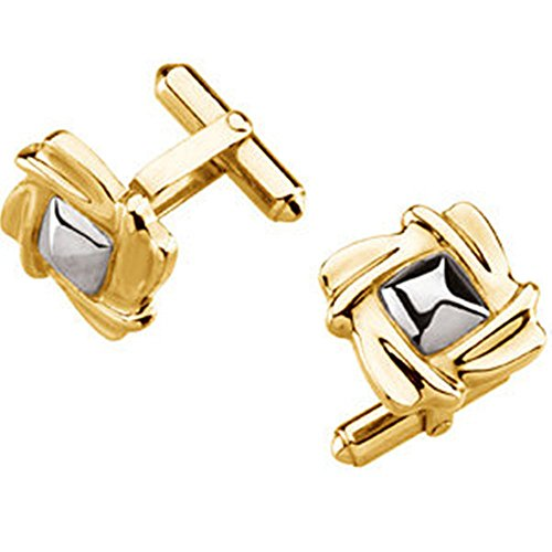 The Men's Jewelry Store 18k Yellow Gold, Platinum Square Cuff Links, -
