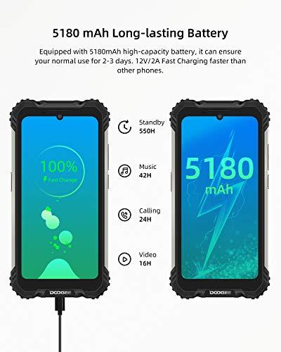 Telephone Portable Incassable, DOOGEE S58 Pro Smartphone Débloqué 4G, 5.71 Pouces, Android 10.0, 6Go+64Go, 16MP+16MP… 5