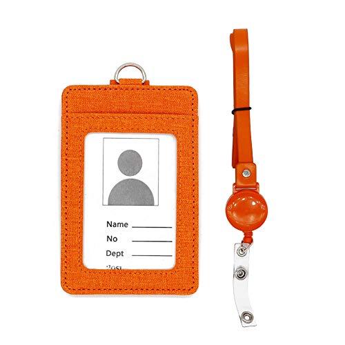 (Badge Holder, PU Leather ID Badge Card Holder with Retractable Badge Reel Neck Lanyard Strap, 3 Cards Slot, Orange)