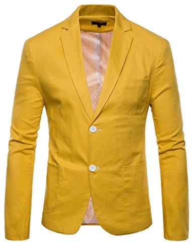 - FEHAAN Mens Lightweight Slim Fit Suit Two-Button Casual Linen Coats Jacket Yellow