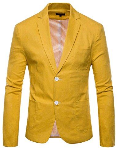 FEHAAN Mens Lightweight Slim Fit Suit Two-Button Casual Linen Coats Jacket Yellow