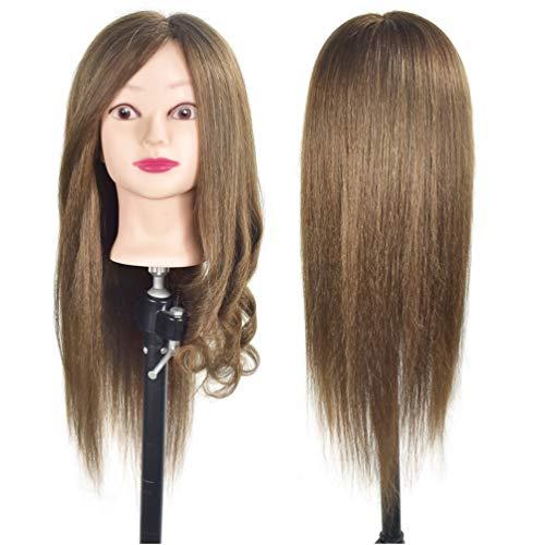 Cabeza de maniqui de entrenamiento para peluqueria, pelo 100% real de 50cm-55cm de largo, soporte incluido