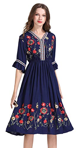 Women's Short Sleeve Mexican Embroidered Floral Pleated Midi A-line Cocktail Dress (L, Blue) from Shineflow