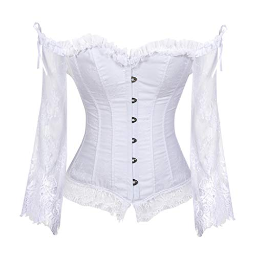 Women's Steampunk Corset with Off Shoulder Victorian Lace Long Sleeves Bustier Large White