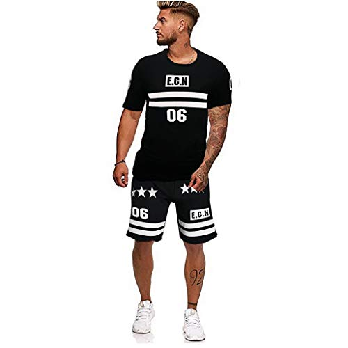 Sunmoot Men's Tracksuit Summer Leeter Printed Patchwork Short Sleeve Top Short Pants Sets Sport Suit]()