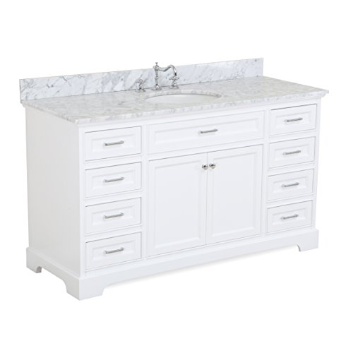 Aria 60-inch Single Bathroom Vanity (Carrara/White): Includes a White Cabinet with Soft Close Drawers, Authentic Italian Carrara Marble Countertop, and White Ceramic ()