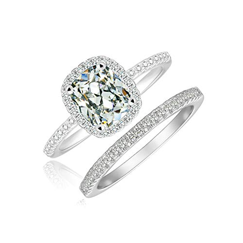 Cushion Cut Halo Engagement Ring Eternity Wedding Band Solitaire Stackable Accented Bridal Ring Set (5)