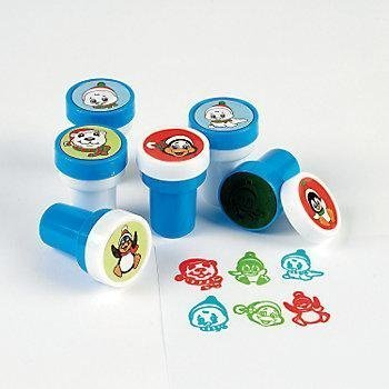Shrink-wrapped 6 ~ Penguin Stampers ~ Self-inking ~ 1.5 ~ Assorted Designs /& Colors ~ New