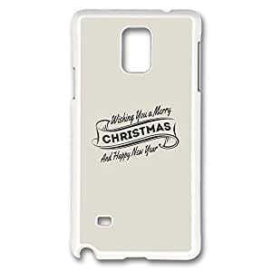 Galaxy Note 4 Case, Creativity Design Wishing You A Merry Christmas And Happy New Year Ideas Print Pattern Perfection Case [Anti-Slip Feature] [Perfect Slim Fit] Plastic Case Hard White Covers for Samsung Galaxy Note 4