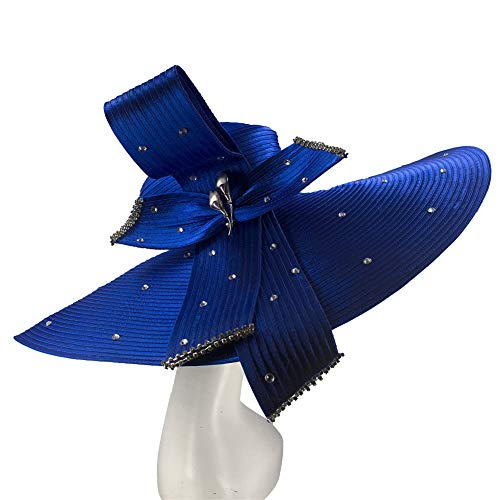 Kueeni Women Hats Hot Red Color Church Hats Lady Party Wear Fedoras Hats (RoyalBlue-2)