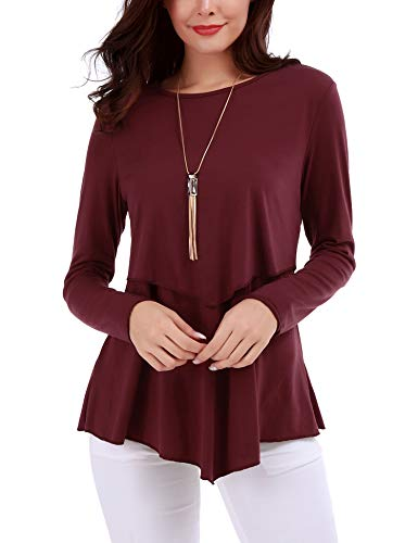 FISOUL Womens Tunic Tops Long Sleeve Flowy Shirts Ruffles Hem Double Layer Blouses