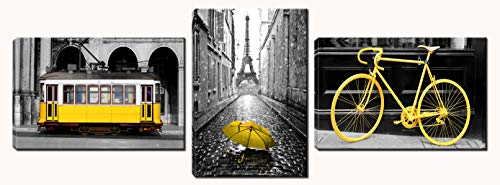 Xinqi art 3 Panels Modern Black and White Pairs Eiffel Tower with Yellow Umbrella Yellow Bicycle Yellow Cable Car Canvas Wall Art, Ready to Hang for Living Room Bedroom Office (16X24inchX3) (Yellow Wall Art)