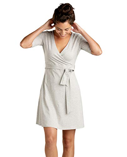 Toad&Co Women's Cue Wrap Cafe Dress, Heather Grey Mini Stripe, L