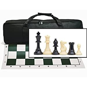 Wood Expressions Tournament Chess Set With Black Canvas Bag by WE Games