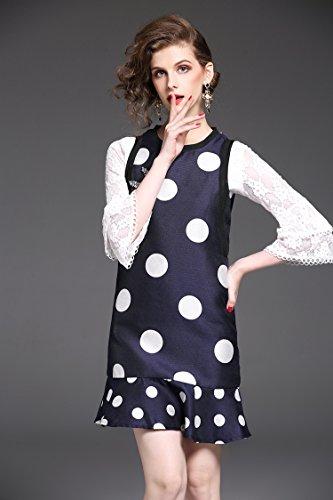 Navy Vestido Impreso Sleeveless Señoras Falbala Dot Diamond Polka Blue ZHUDJ R8xIZq5wq