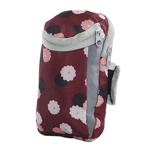 Women Running Arm Package Phone Arm Bag Outdoor Fitness Arm Band Workout Running Arm Bag printing Daisy (wine - Wine Daisy