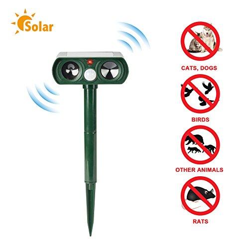CO-Z Ultrasonic Pest Repeller with Solar Powered Motion Sensor Cat, Dog, Bird Repellent, Waterproof