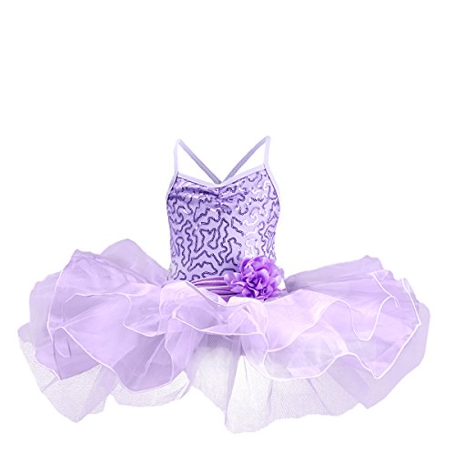 Toddler Girls Kids Sequin Flower Camisole Gymnastic Ballet Leotard Dance Tutu Dress Sleeveless Skating Fairy Ballerina Princess Dancewear Cross Back Athletic Sports Skirt Costume Purple 1-2