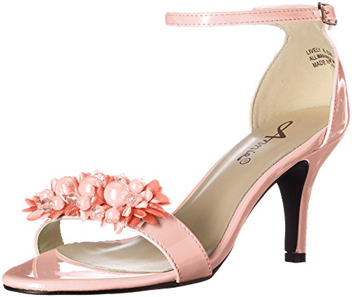Annie Shoes Women's Lively W Dress Sandal, Peach, 7 W US