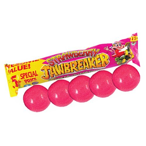 (ZED Candy Strawberry Jawbreaker Hard Candy With A Bubble Gum Center 30 Pack Contains 5 Balls Each 500g)