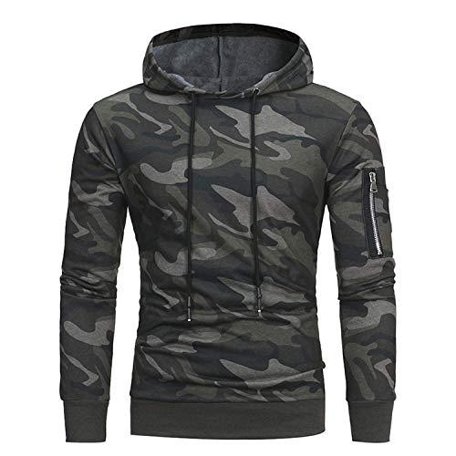 New Men Hoodies Sweatshirt Autumn Military Camouflage Hooded Sportswear Casual Jacket,Medium,Gre