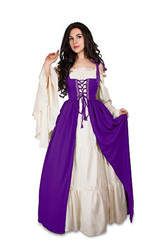 Mythic Renaissance Medieval Irish Costume Over Dress & Cream Chemise Set (S/M, Purple)