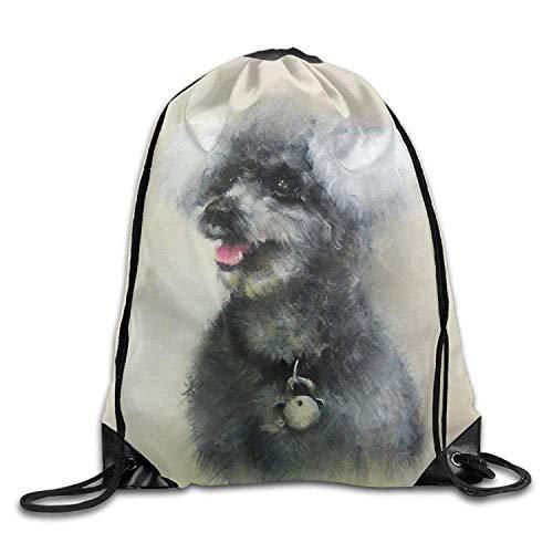 Poodle Dog Print Drawstring Backpack Rucksack Shoulder Bags Gym Bag Sport...