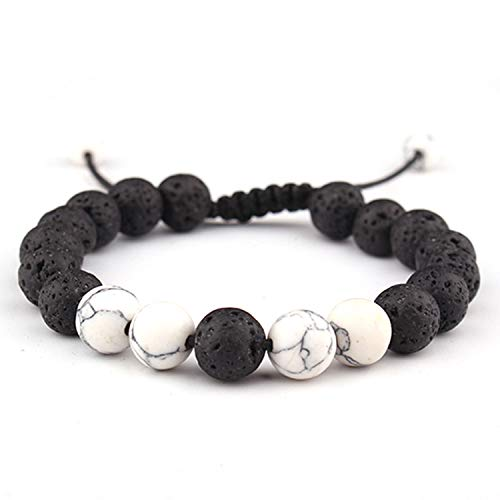 (Adjustable Lava Rock Stone Essential Oil Anxiety Diffuser Bracelet Meditation Relax Healing Aromatherapy for Women Man Gift as picture2)