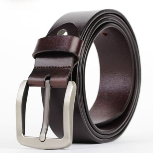 [100% Genuine Cowhide Leather Belts Alloy Pin Buckle Waistband Men's Waist Belts] (35 Mm Bridle)