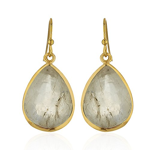 (18K Gold-Plated Tear Drop Pear Shape White Moonstone Gemstone Dangle Earrings)
