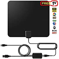 Amplified TV Antenna 4K Digital TV Antenna 50 Miles Range with 13 foot Coax Cable - HDTV Amplifier Support 4K 1080P