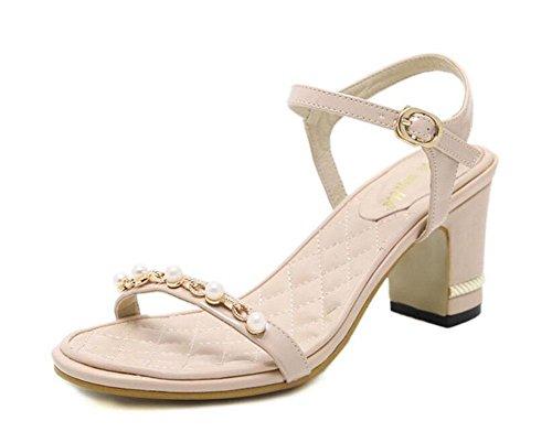 GLTER Mujeres Ankle Strap Bombas Verano Nuevos zapatos de las mujeres Simple Confortable cuentas con gruesas sandalias de tacón alto Corte zapatos albaricoque negro apricot