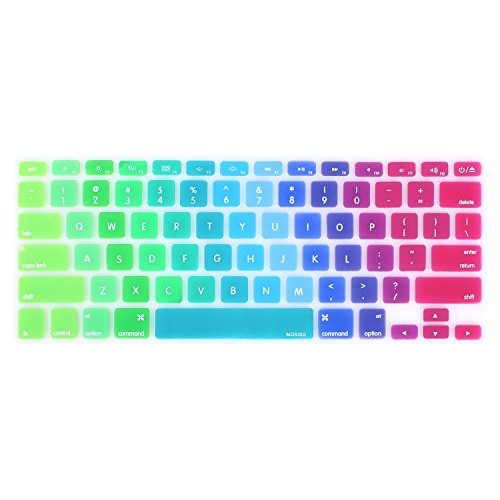 MOSISO Keyboard Cover with Pattern Compatible MacBook Pro 13 Inch, 15 Inch (with or without Retina Display, 2015 or Older Version) MacBook Air 13 Inch, Rainbow II