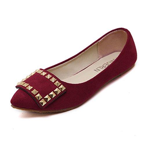 Primavera y verano del remache zapatos puntiagudos/Zapatos de boda y damas de honor/Zapatos planos y poco profundos/Zapatos C