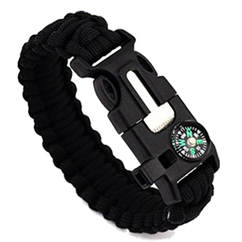 Lucoo® 5 in 1 Outdoor rope Paracord Survival gear escape Bracelet Flint/Whistle/Compass (A)
