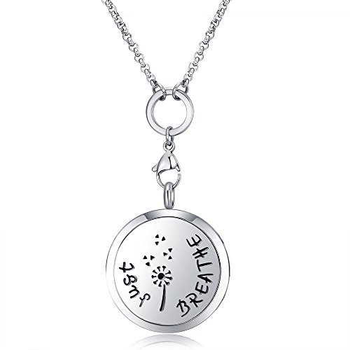 - MESINYA Just Breathe (large) Aromatherapy/316L s.steel Essential Oils Diffuser Locket Necklace (Large 30mm)