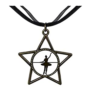 Chicforest Bronze Retro Style Dance themes Ballet Dancer Five Pointed Star Pendant
