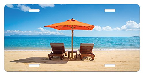 Lunarable Coastal License Plate, Two Chairs and Caribbean Sea Under Umbrella Wedding Celebrations, High Gloss Aluminum Novelty Plate, 5.88 L X 11.88 W Inches, Sand Brown Sky Blue - License Umbrella Plate
