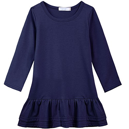 Blue Girls Dress Ruffle (Arshiner Girls Cotton Long Sleeve A-Line Ruffle Hem Dress for School, Dark Blue, 120(Age for 7-8Years))