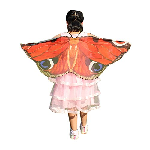 FarJing Child Kids Boys Girls Bohemian Butterfly Print Shawl Pashmina Costume Accessory(Red) ()