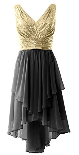 Party Gown Champagner Low Dress V Prom Sequin MACloth Women High Neck Chiffon Black Formal Straps OPqwpR7wF