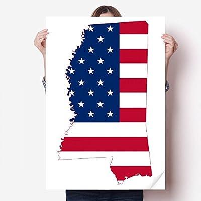 DIYthinker Mississippi USA Map Stars Stripes Flag Shape Vinyl Wall Sticker Poster Mural Wallpaper Room Decal 80X55cm