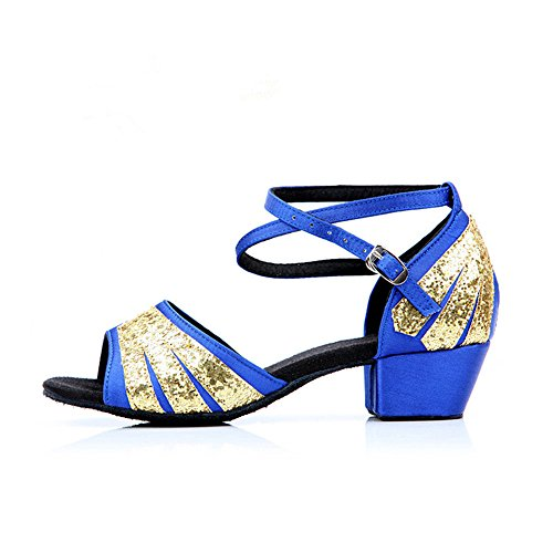 Mädchen satin Tanz Schuhe Latin Dance Schuhe weiche Mädchen Flash gold tanzen Kinderschuh Blue Gold